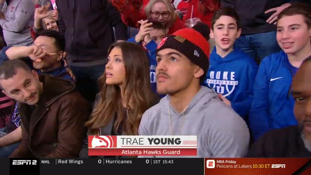 PHOTO Trae Young Sitting With His Hot Side Chick At Texas Tech Duke Game