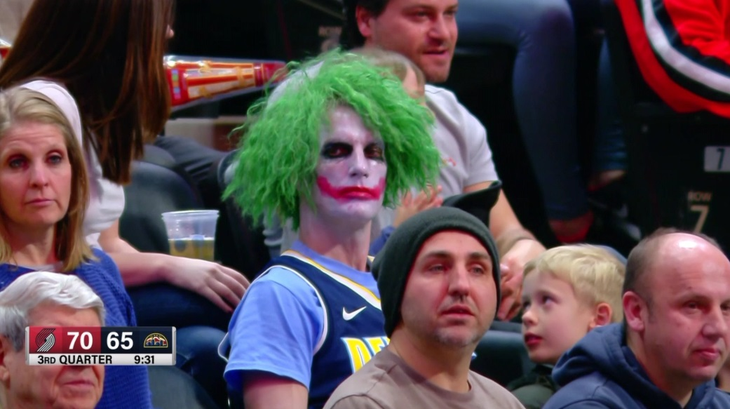 Fan Dressed Like A Clown At Blazers Nuggets Game