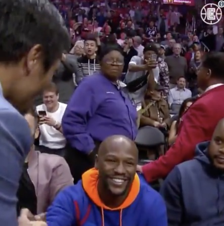 PHOTO Manny Pacquiao Floyd Mayweather Meet Up At Clippers Game