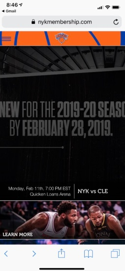 PHOTO Knicks Are Asking For Season Ticket Holders To Renew By February 28 With Kevin Durant On The Renewal Page