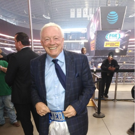 PHOTO Jerry Jones Wearing Professional Boxing Pants With His Name On It Over Suit Pants