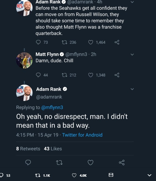 NFL Reporter Makes Fun Of Seahawks For Thinking Matt Flynn Was A Franchise QB Matt Flynn Sees Messages Tells Reporter To Chill Reporter Says No Disrespect Lol