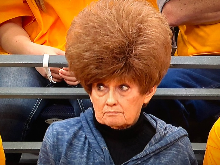 PHOTO Lady At Utah Jazz Game Has Hair That Sticks Up 10 Inches In The Air And Is Hideous