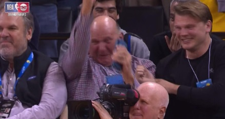 PHOTO Steve Ballmer Almost Throws Up On Himself Celebrating Clippers Unlikely Game 2 Win