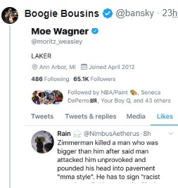 PHOTO Mo Wagner Liked Message That Said Travon Martin Was The One At Fault In George Zimmerman Shooting