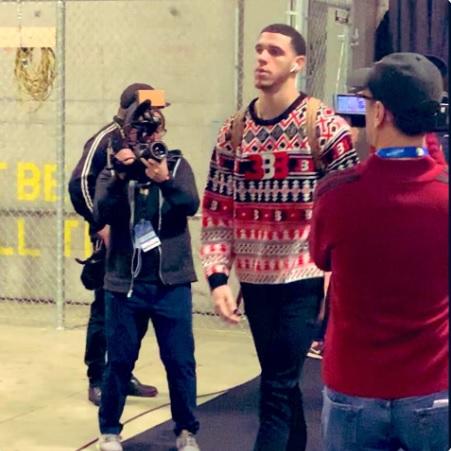 PHOTO Lonzo Ball Wearing Big Baller Brand Custom Christmas Sweater