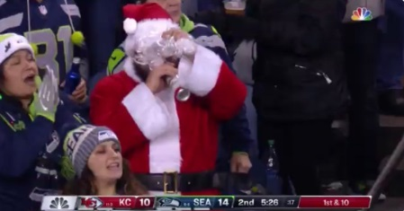 PHOTO Santa Chugging Red Bull At Chiefs Seahawks Game