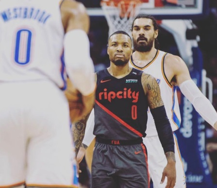 PHOTO Damian Lillard Staring Down Russell Westbrook After Scuffle