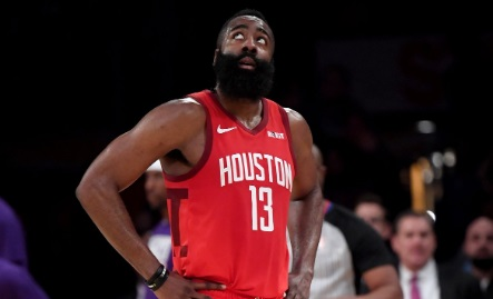 PHOTO James Harden Looks Up At Scoreboard In AWE That His Streak Was Going To An End