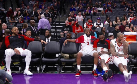 PHOTO James Harden Reacts To CP3 Shrugging Over Rockets Bench Being Empty Due To Trade By Looking Embarrassed