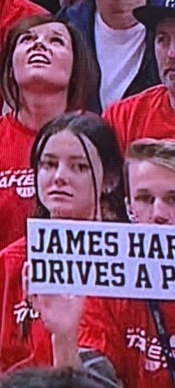 PHOTO Utah Jazz Fan Holding Sign That Says James Harden Drives A Prius