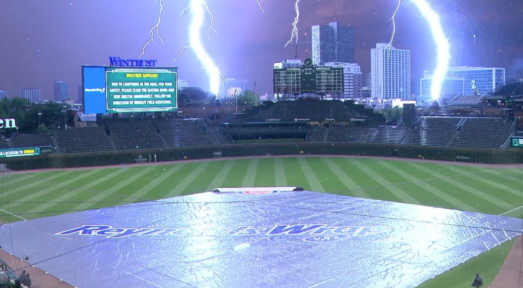 PHOTO Awe Inspiring Image Two Lightening Strikes Hit Wrigley Field
