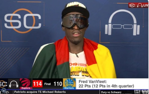 PHOTO Pascal Siakam On Sportscenter Wearing Goggles Covered In Champagne
