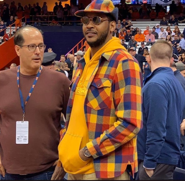 PHOTO Carmelo Anthony Wearing Ugliest Orange Checkered Shirt Over Orange Hoodie
