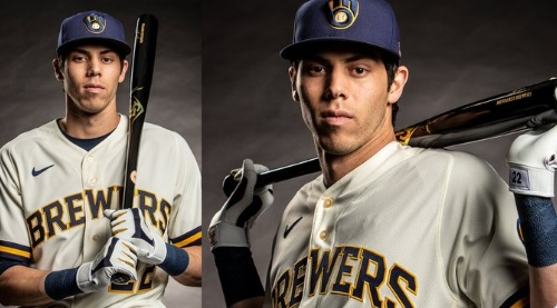 PHOTO Christian Yelich Wearing New Milwaukee Brewers Uniforms