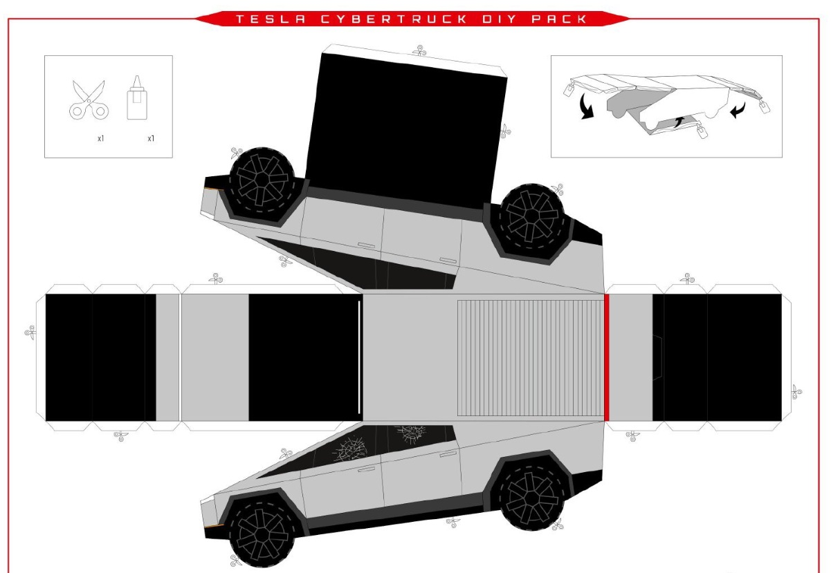 PHOTO Print Out A Makeable Cardboard Tesla Cybertruck