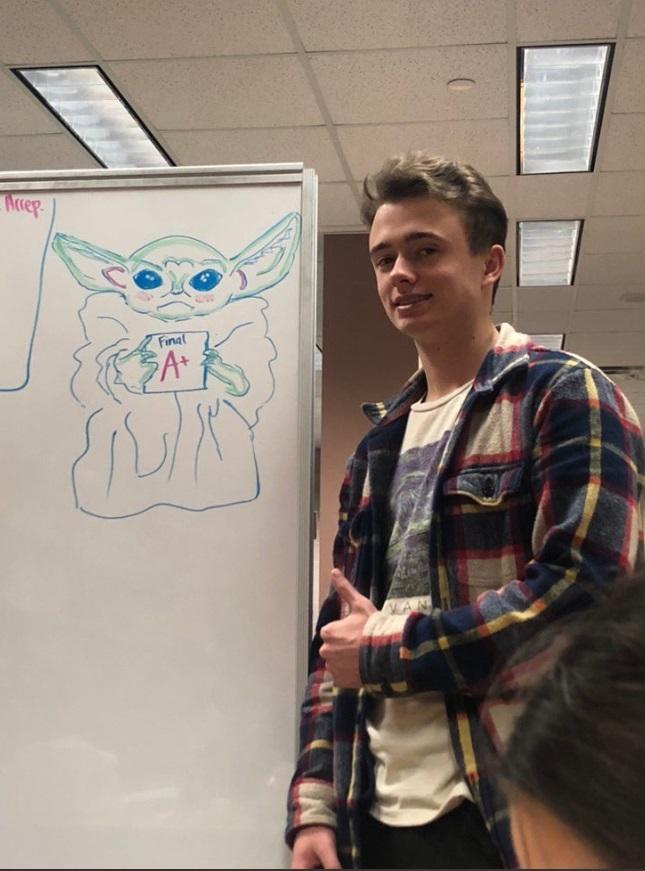 PHOTO Baby Yoda Drawn On Whiteboard At UL Lafayette