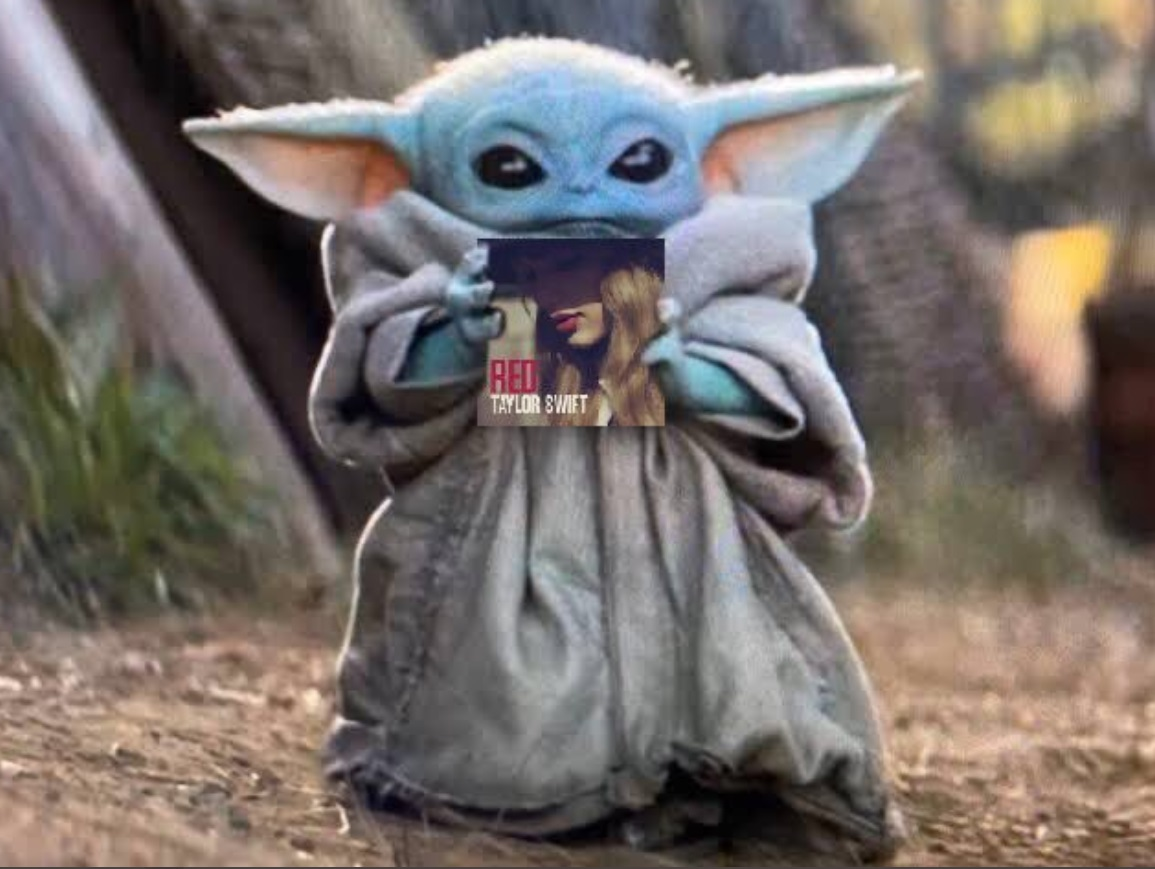 PHOTO Baby Yoda Holding Red By Taylor Swift Album