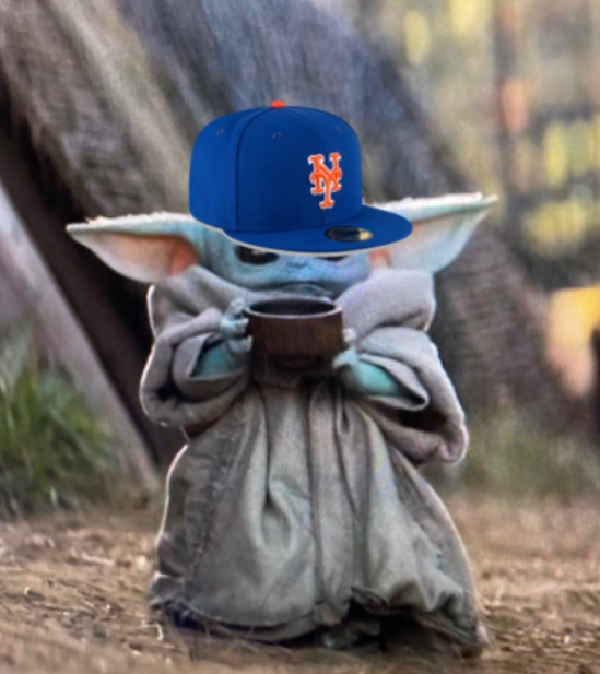 PHOTO Baby Yoda In NY Mets Hat With The Sticker Still On It