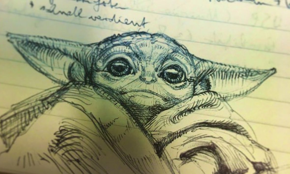 PHOTO Baby Yoda Sketched During A Lecture Class