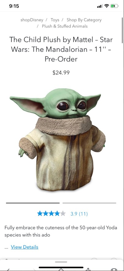PHOTO Disney Store Released A Baby Yoda Toy