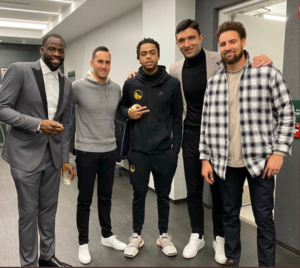 PHOTO Draymond Green Klay Thompson Zaza Pachuila And Warriors Players Wearing Black Tech Fleece Joins