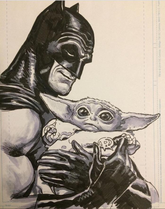 PHOTO Batman Holding Baby Yoda