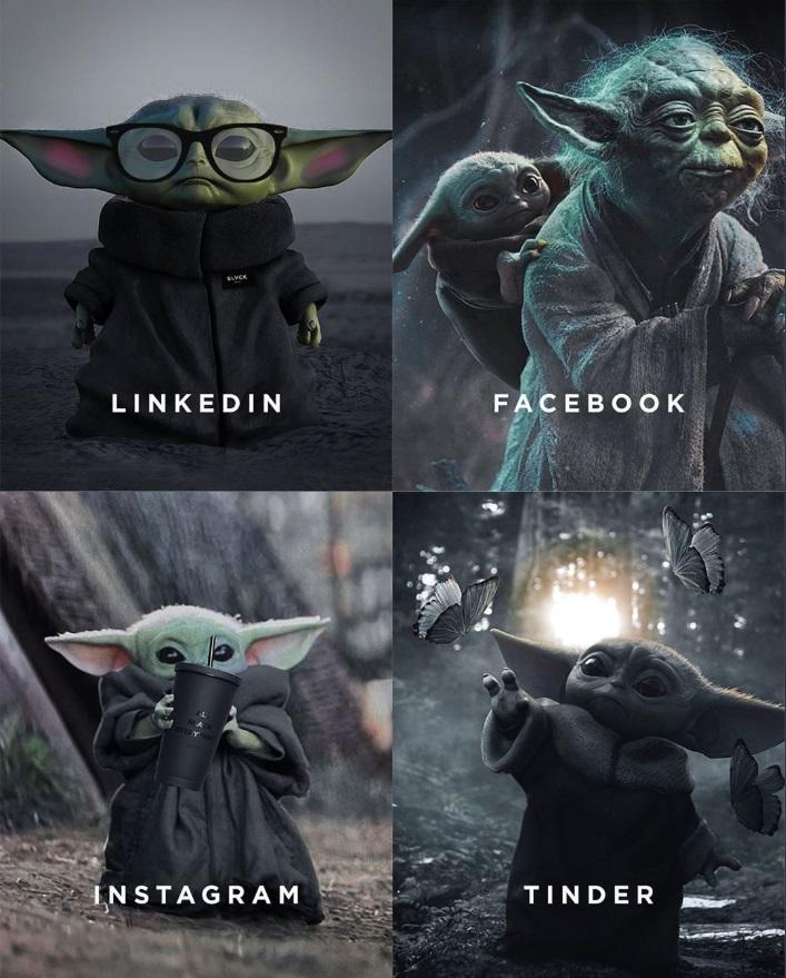 PHOTO LinkedIn Facebook Instagram Tinder Comparison Baby Yoda Meme