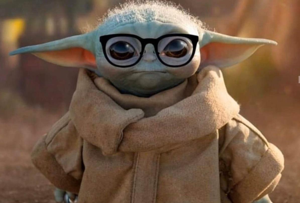 PHOTO Baby Yoda Looking Smart Wearing Glasses