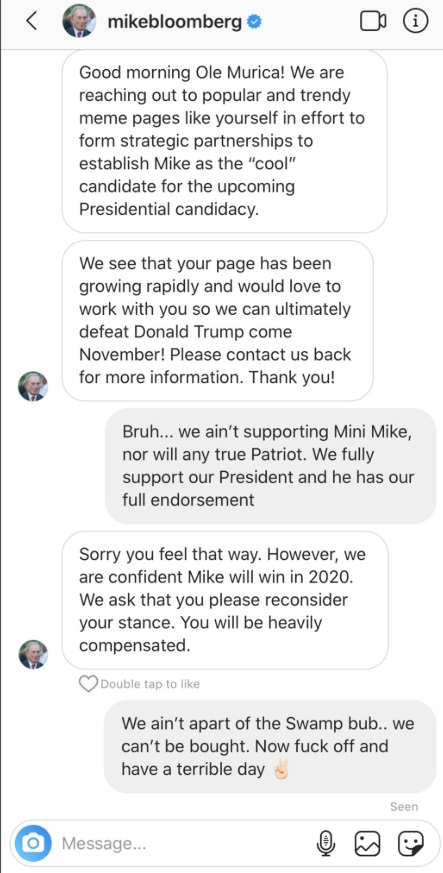 PHOTO Mike Bloomberg Official Facebook Account Sending Messages Asking Popular Pages If They Will Accept Heavy Compensation For Paterning With Presidential Campaign