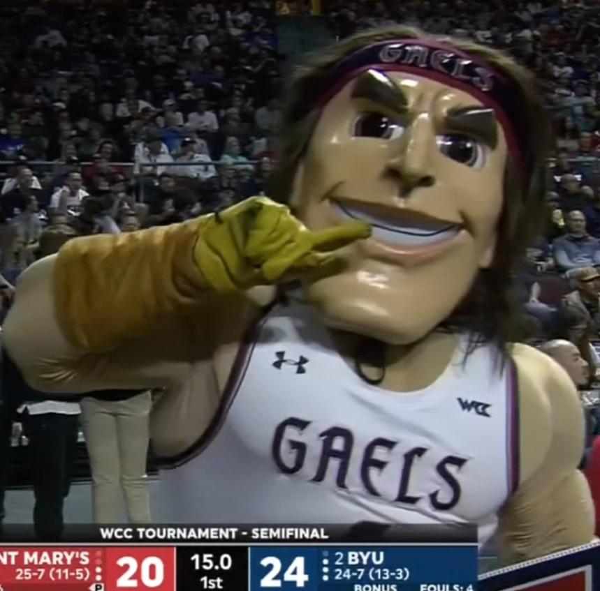 PHOTO Saint Mary's Basketball Mascot Looks Terrifying