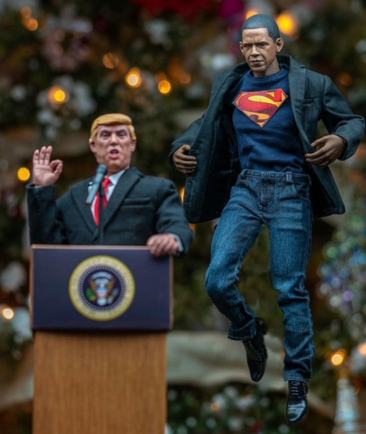 PHOTO Obama In A Superman Cape Saving America From Trump At The Podium
