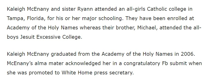 PHOTO Kayleigh McEnany Went To Catholic School With Her Sister And Her Whole Family Is Catholic