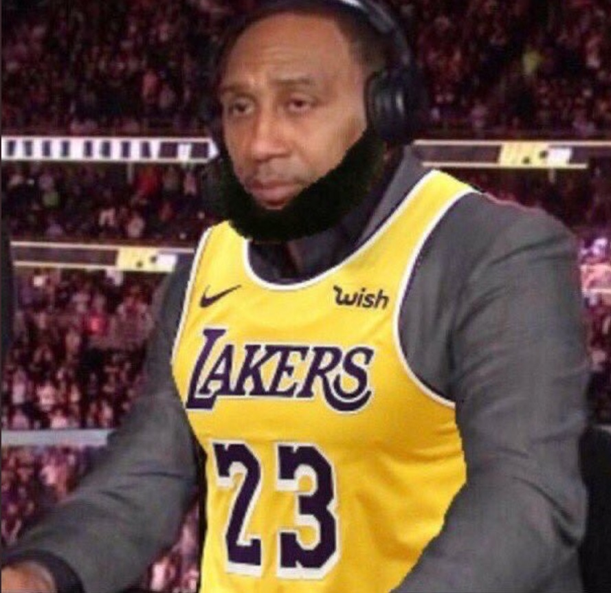 PHOTO Stephen A Smith In A Lebron Lakers Jersey With A Lebron Beard