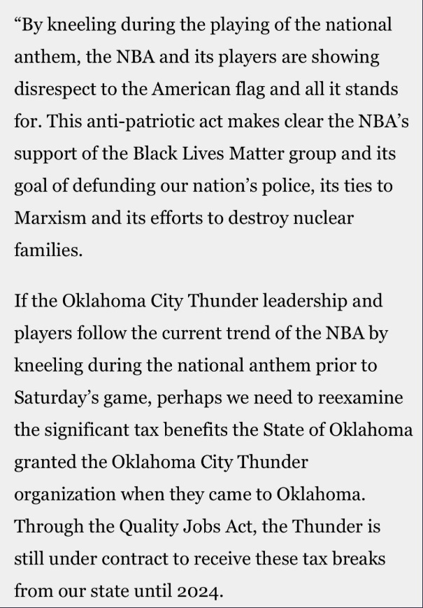 PHOTO Oklahoma State Representative Says He Will Re-Examine The Thunder's Team Tax Benefits If Players Kneel